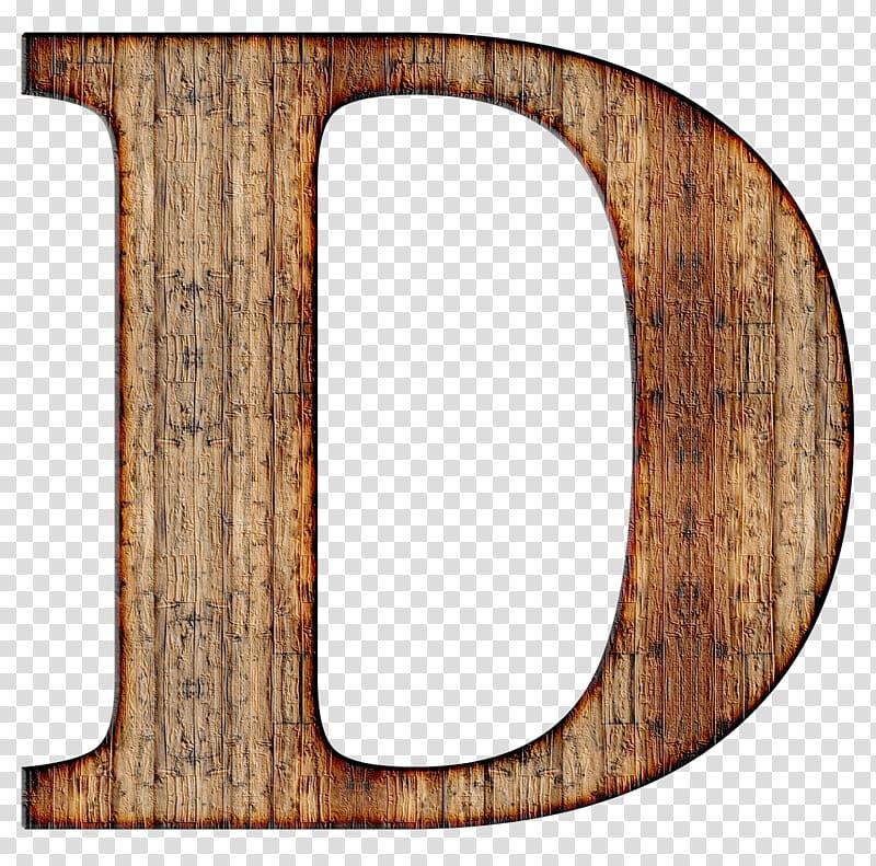 Brown letter D illustration, Wooden Capital Letter D.