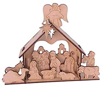 Urban Forest Wooden Nativity Set.