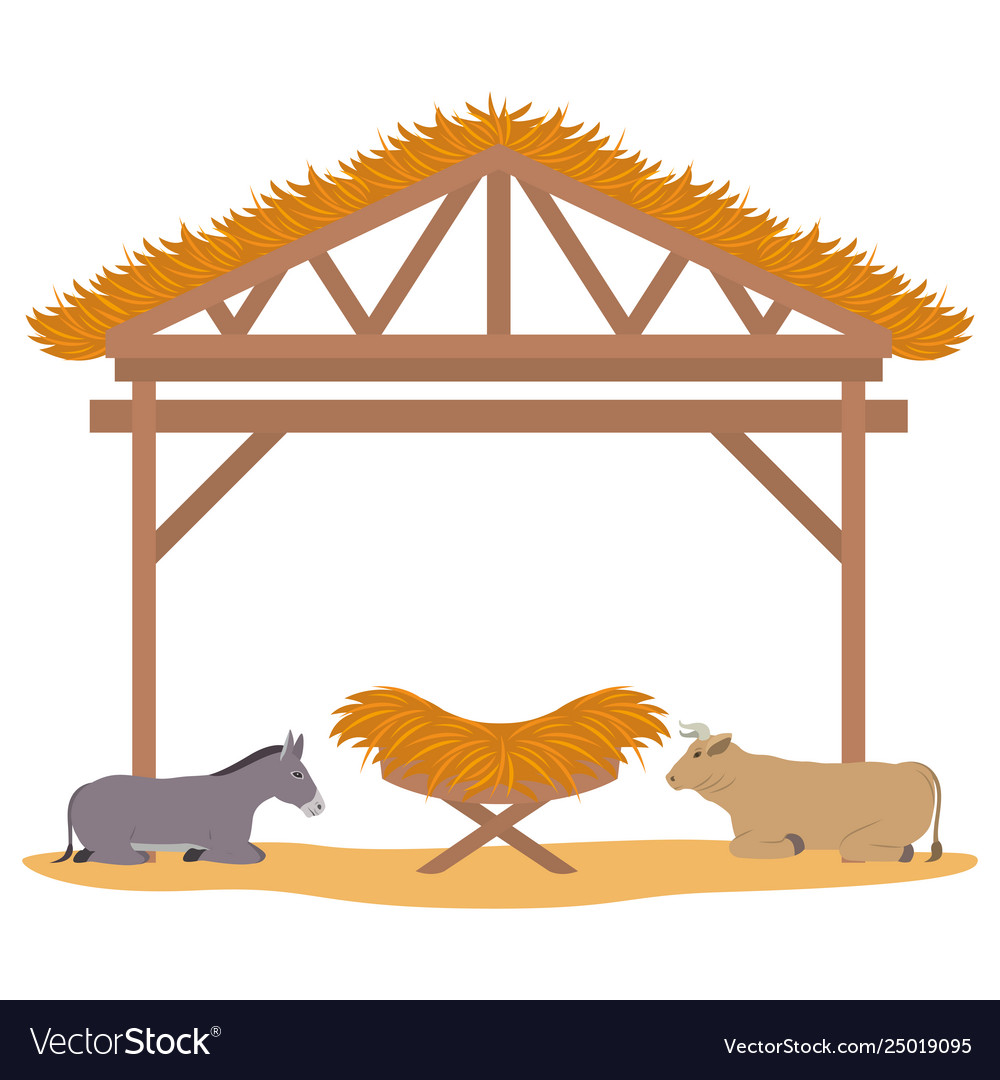Wooden stable manger with cradle and animals.