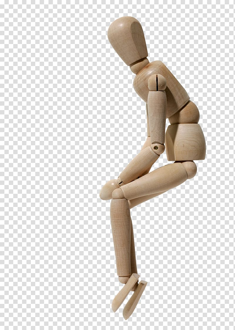 Sitting Mannequin , Thinking of wooden transparent.