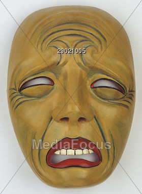 Stock Photo Wooden Mask with Sad Face Clipart.