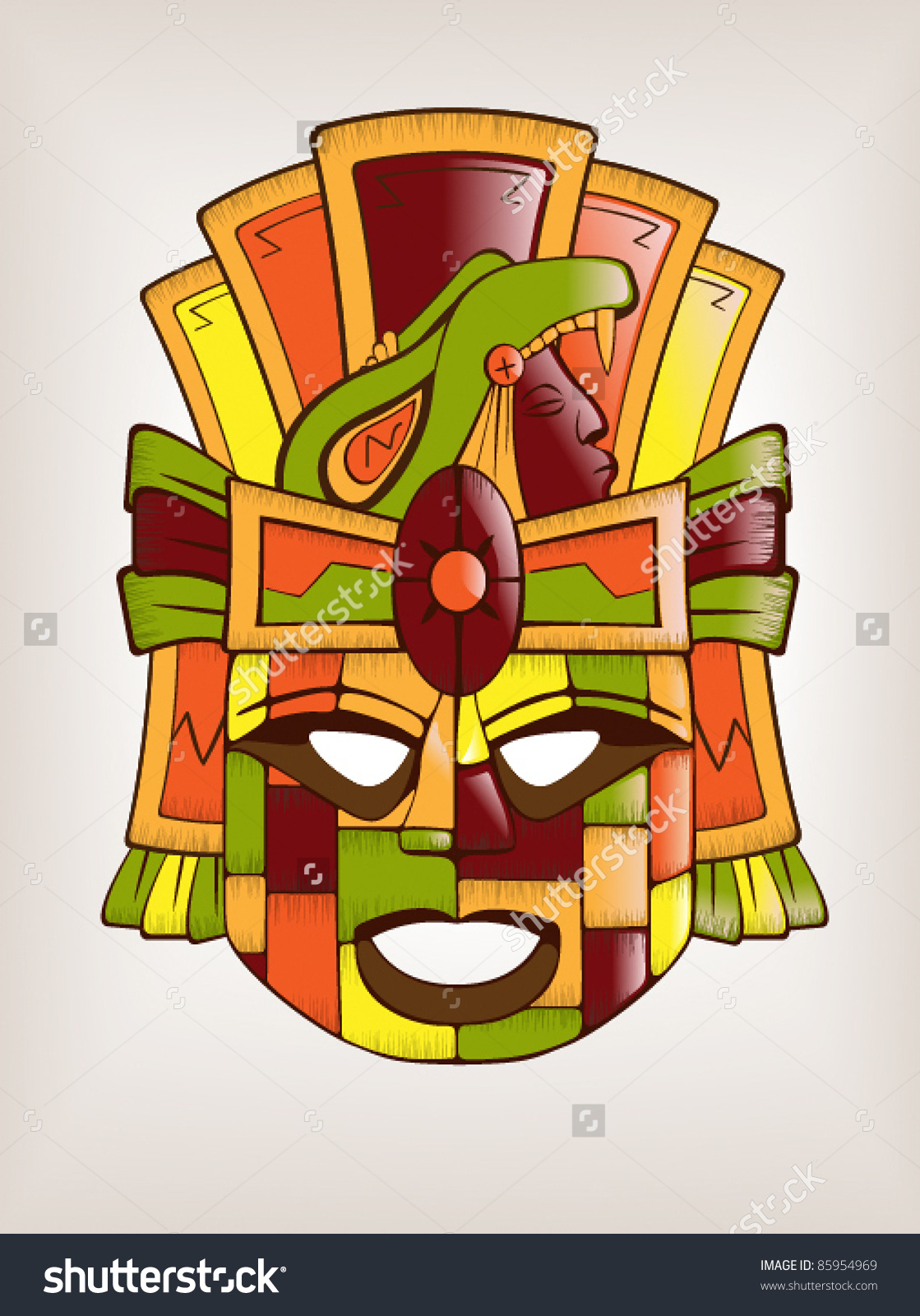 Mexican Mayan Aztec Wooden Mask Stock Vector 85954969.