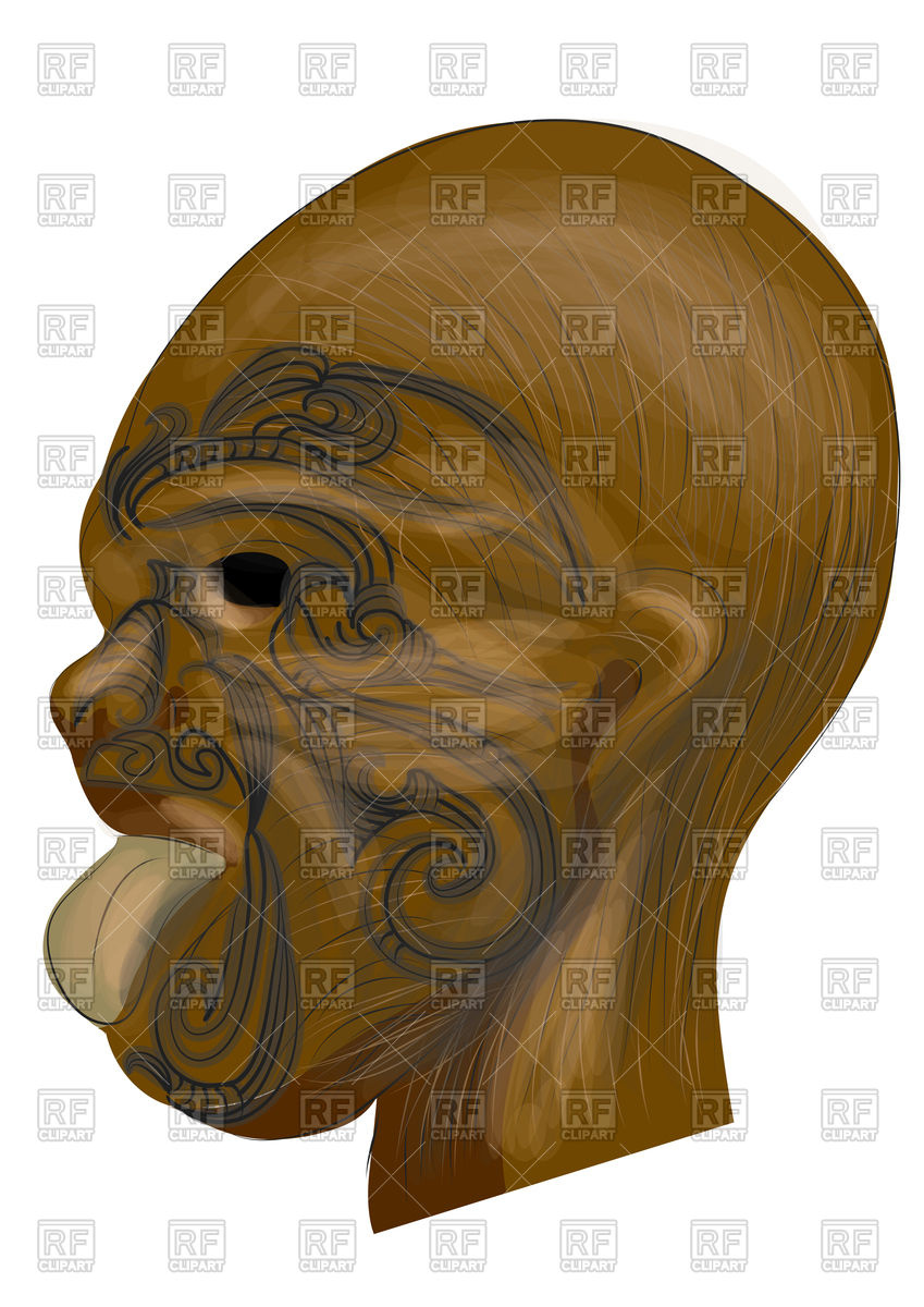 Maori traditional tatoo on wooden mask Vector Image #136613.