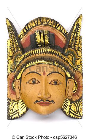 Stock Image of Indonesian Wooden Mask.