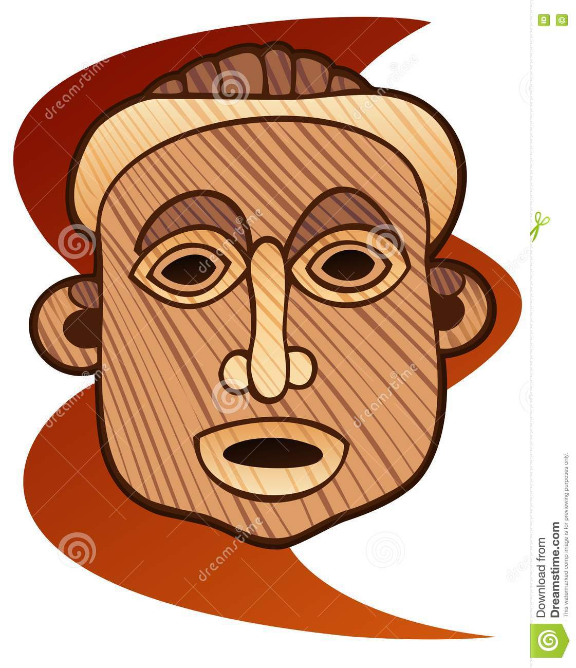 Wooden Mask Stock Vector.