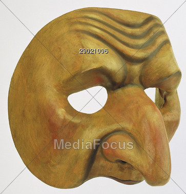 Stock Photo Wooden Face Mask Clipart.