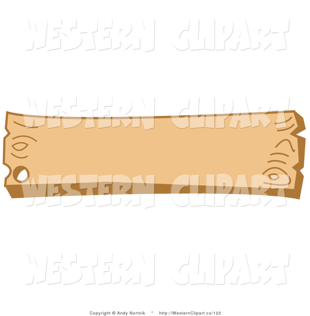 Vector Western Clip Art of a Blank Wooden Western Style Sign with.