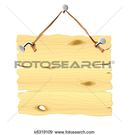 Clip Art of Wooden signboard hanging on a nail k6319109.