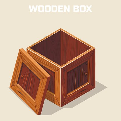 Open wooden box isometric Clipart Image.