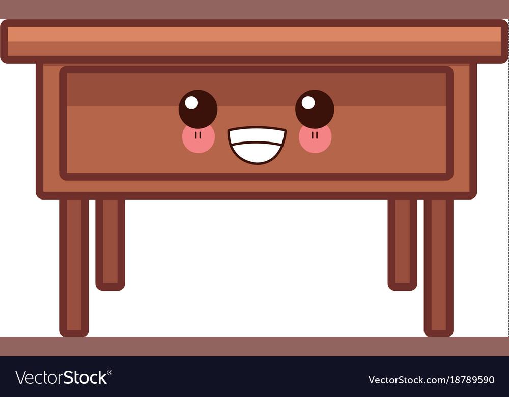 Wooden office desk cute kawaii cartoon.