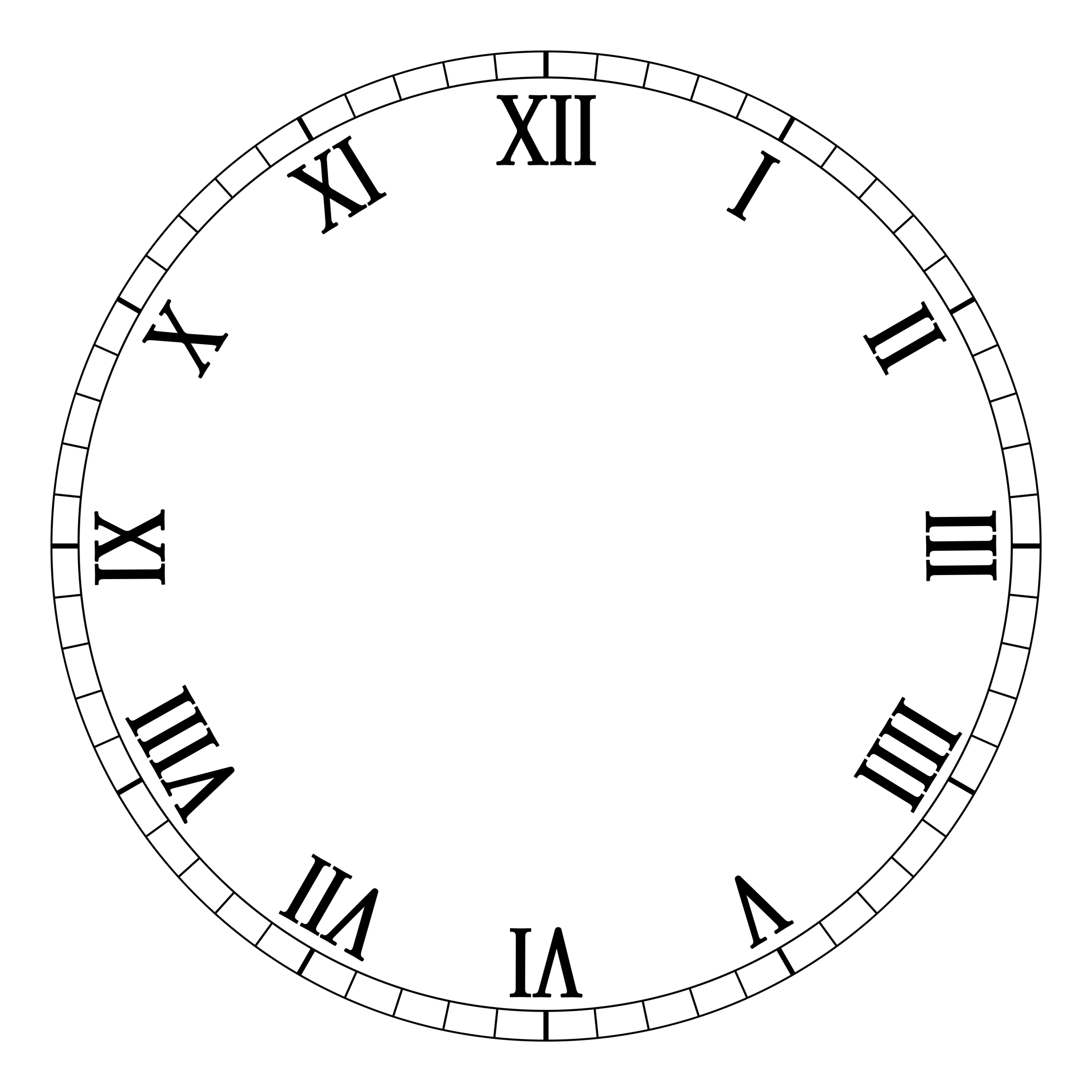 Tarczy cyframi rzymskimi Wolny Szablon.