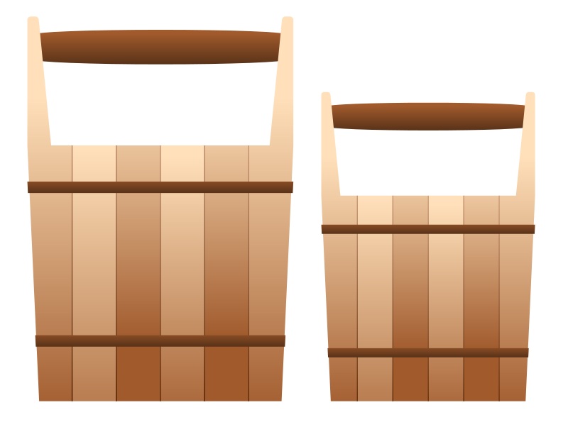 Free Two Wooden Pail Clip Art.
