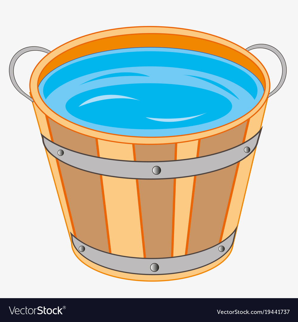 Wooden pail with water.