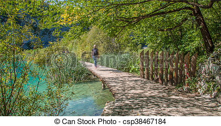 Stock Illustration of Wooden path in National Park in Plitvice in.