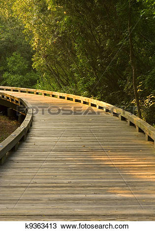Stock Photo of Curved Wooden Path k9363413.