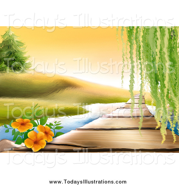 Clipart of a Orange Flowers and Willow Tree over a Wooden Path.
