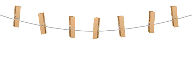 Clothes Pins Clothes Line Rope Seven Wooden Pegs » Clipart.