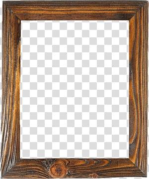 Rustic Wood Frames s, square brown frame transparent background PNG.