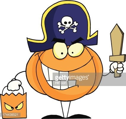Pirate Pumkin With Bag And Wooden Sword Clipart Image.