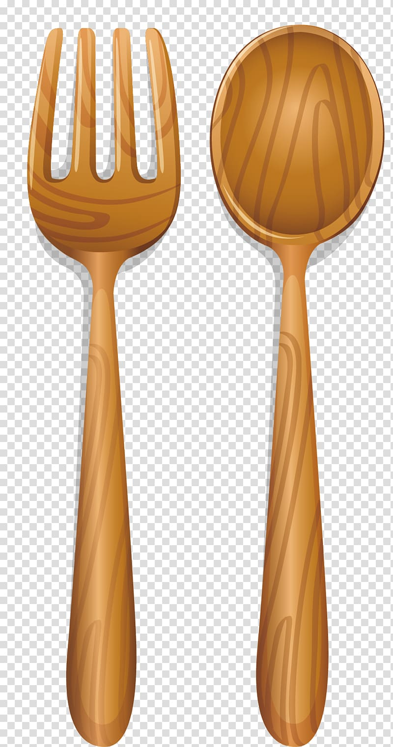 Knife Fork Wooden spoon, Wooden spoon transparent background.