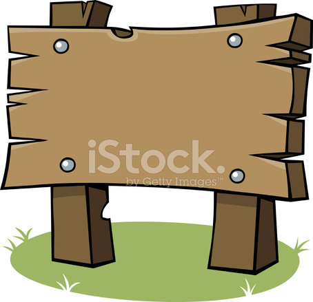 Cartoon Wooden Sign Stock Vector.