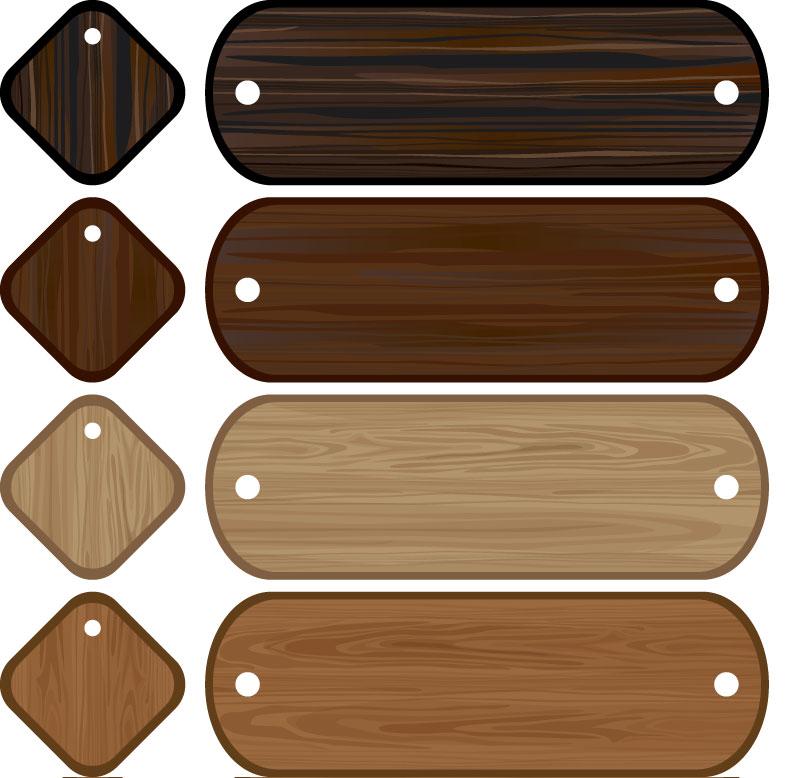Wooden labels vector.