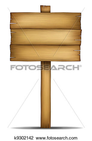 Stock Photo of Wooden Sign Board with pole k9302142.