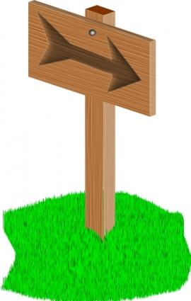 Sign Wooden Arrow Cartoon Grass Post Lawn Directions.