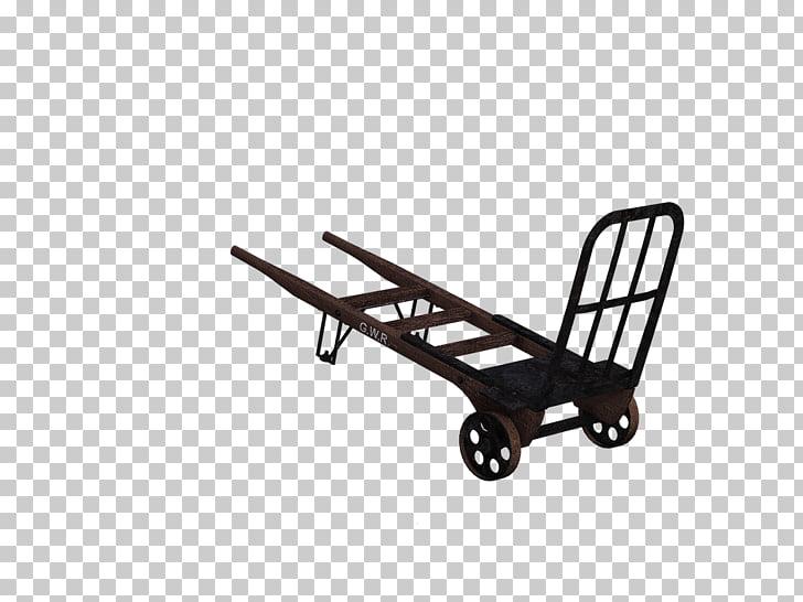 Cart Horizontal Vintage, black and brown wooden framed hand.