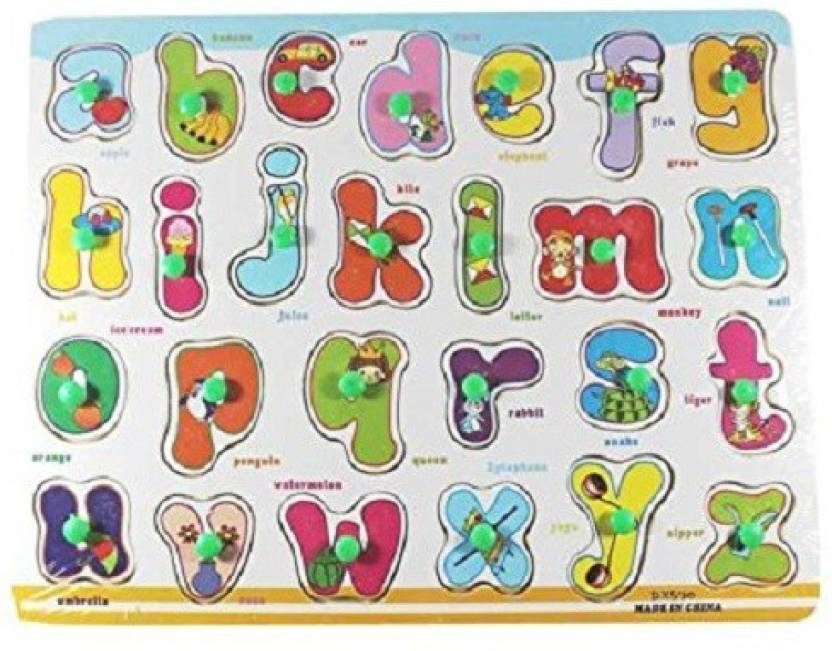Little Grin English Alphabets Wooden Puzzle With Pegs.