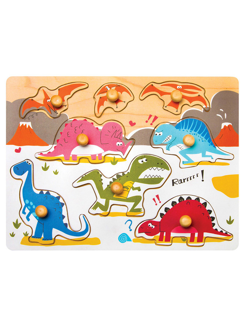 Robud 8 Pieces Jurassic Dinosaurs World Peg Jigsaw Wooden.