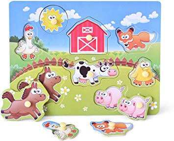 Wooden Peg Puzzle, Farm Chunky Baby Puzzles, Full.