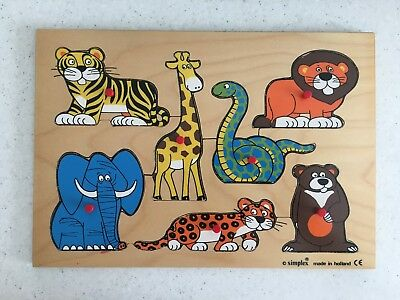 VINTAGE SIMPLEX WOODEN Puzzle with Pegs Zoo Animals Made in.