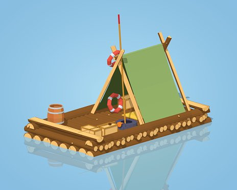 Low poly wooden raft Clipart Image.