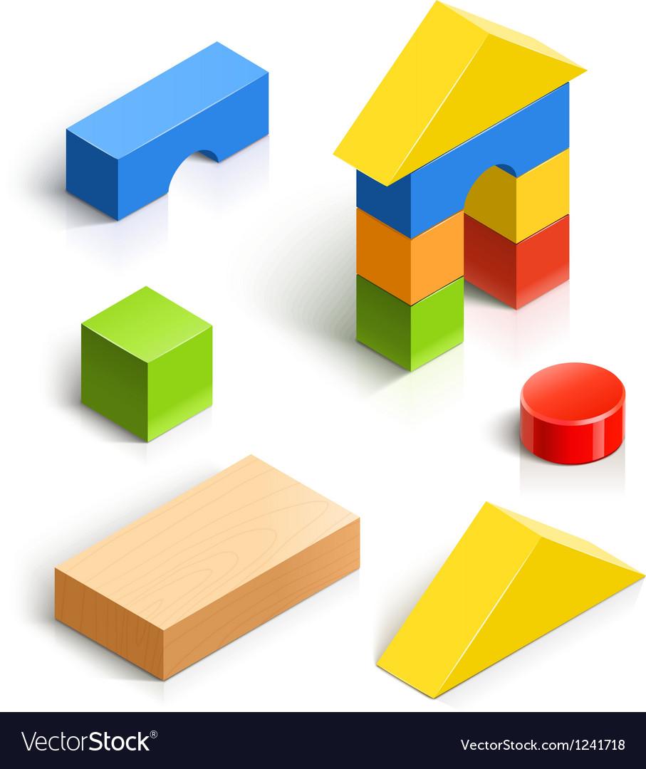 Brick house wooden toy set.