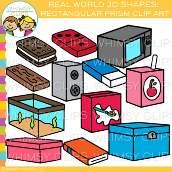 Real Life Objects 3D Rectangular Prism Clip Art.