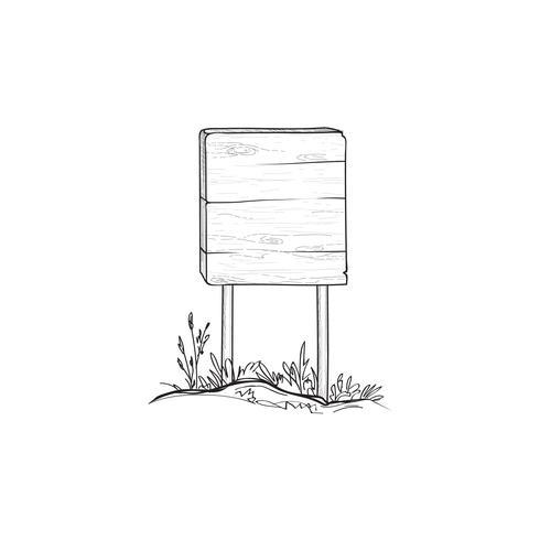 Signboard sketch. Doodle wooden road sign. Plank signpost.
