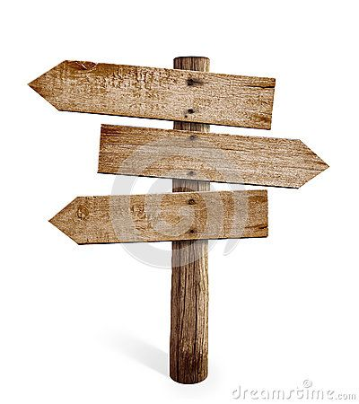 Wooden arrow sign post or road signpost isolated.