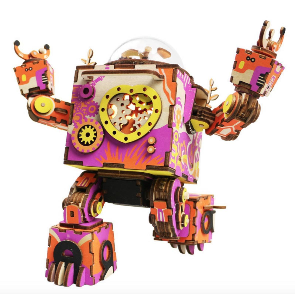 2019 Robotime DIY Action & Toy Figure Steampunk Rotatable Robot Wooden  Clockwork Music Box Perfect Gifts For Friends Children From Stafaniely,  $57.68.