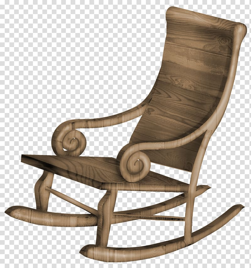 Brown wooden rocking chair on blue background, Rocking chair.