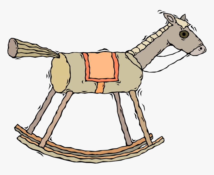 Vector Illustration Of Wooden Rocking Horse Child\