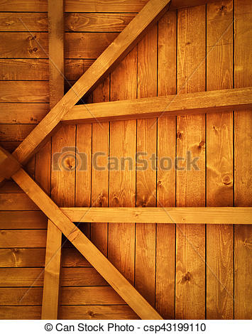 Stock Photography of wooden roof truss detail.