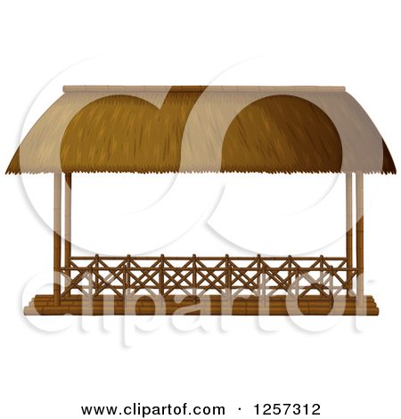 Cartoon of a Straw and Wooden Gazebo.
