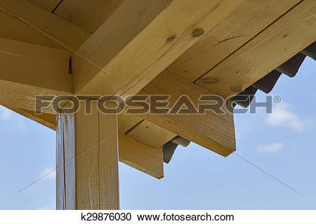 Stock Photography of wooden roof construction indoor k29876030.