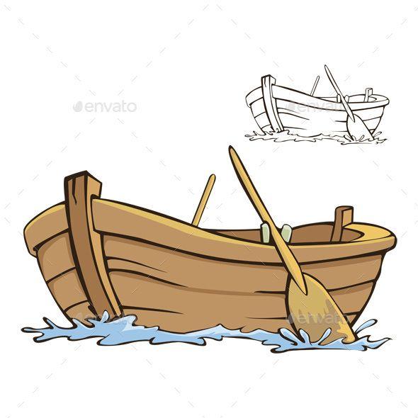 boat, row, cartoon, vector, wood, rowboat, sea, clipart.