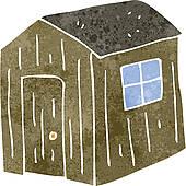 Clip Art of retro cartoon wood shed k15091219.