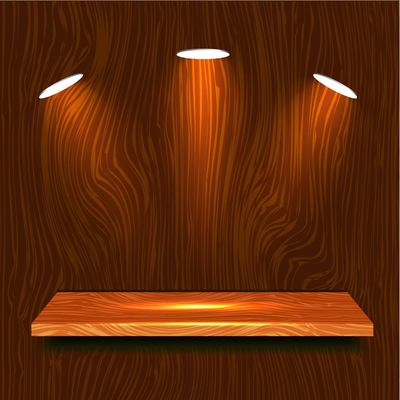 Realistic Wooden Shelf with Lights Clipart Picture.