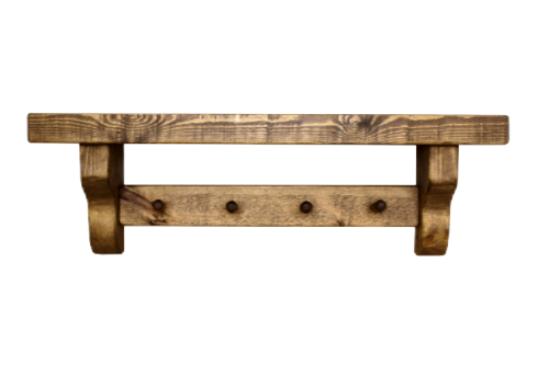 Rustic shelf with coat pegs..