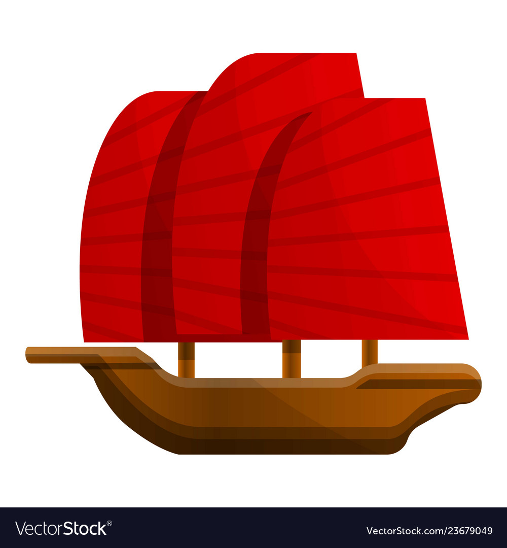 Vietnam wooden ship icon cartoon style.