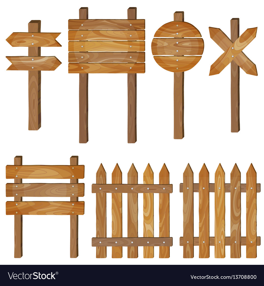 Fence wooden signboards arrow sign set.